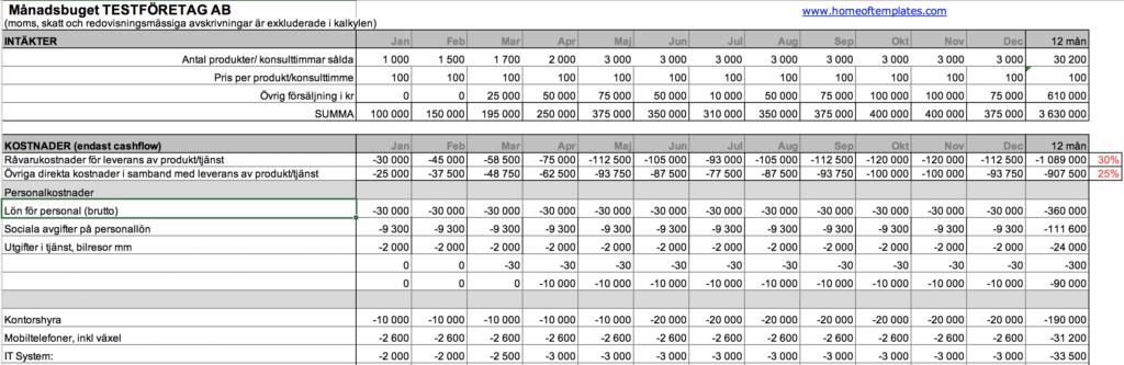 Förhandsvisning budgetmall för företag