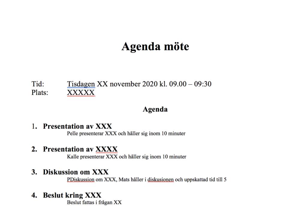 Förhandsvisning av mall för agenda till möte